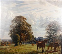 horses grazing in a summer landscape by niels vinding dorph