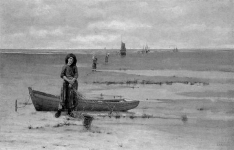 the seaweed gatherers on the potomac at low tide by george matthews