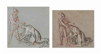 studies of a woman kneeling at the feet of a soldier (2 works) by antoine coypel