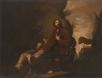 mountain landscape with kneeling shepherd (a saint?) by mateo cerezo