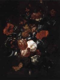 blumenstilleben in einer vase auf einer brüstung by philips van kouwenberg
