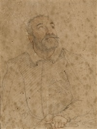 a bearded man looking up and to the left, possibly giacomo vignola by federico zuccaro