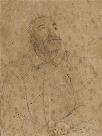 a bearded man looking up and to the left possibly giacomo vignola by federico zuccaro