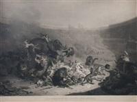 chrześcijanie rzuceni lwom (from czasów cesarza domicjana, engraved by jazet) by felix louis leullier