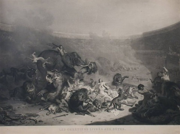 chrześcijanie rzuceni lwom from czasów cesarza domicjana engraved by jazet by felix louis leullier