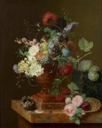 vase de fleurs, corbeille de roses, grappes de raisins et nid sur un entablement by georg frederik ziesel