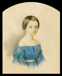 portrait of a girl in a blue dress by mikolaj michajlowicz aleksiejew
