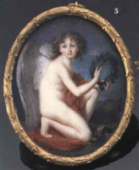 cupid crouching and holding a laurel crown by jean baptiste laurent