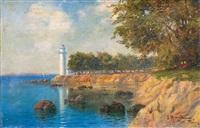 paysage avec un phare by hrand alyanak