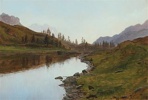 landscape from schweiz with lake in the background mountains by janus andreas barthotin la cour