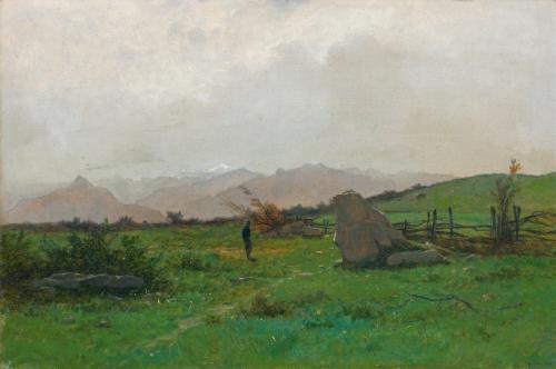 paysage avec randonneur landscape with hiker by gustave eugène castan
