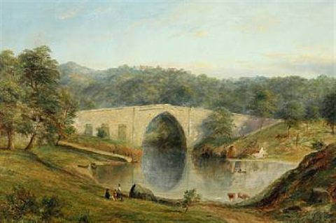 view of the brig o balgownie bridge of don over the river don in aberdeenshire by henry c gritten
