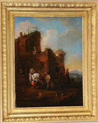 le maréchal ferrand, la halte des cavaliers près de l'auberge (2 works) by pieter wouwerman