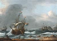 voiliers par mer agitée by reinier nooms