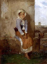 a seated young girl by polychronis lembessis