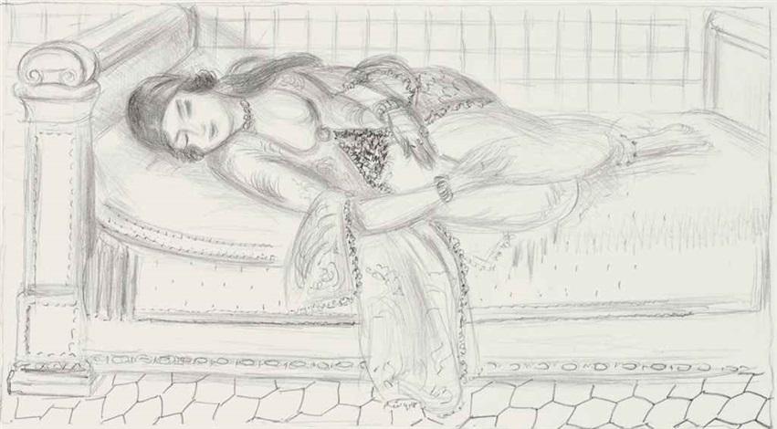 orientale sur lit de repos sol de carreaux rouges by henri matisse