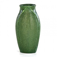 vase carved with tobacco leaves, boston, ma by grueby