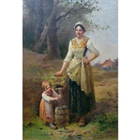 mother and child fetching water by charles labarre