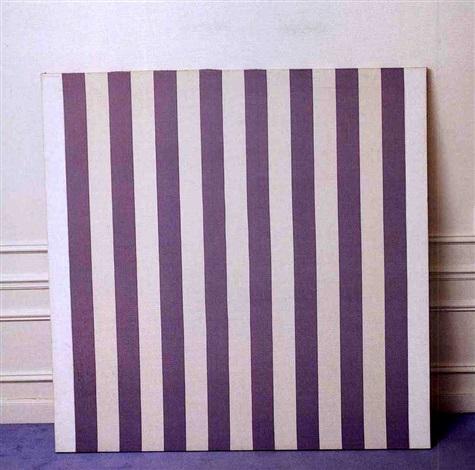 Peinture Acrylique Blanche Tissu Rayé Blanc Et Bleu By Daniel Buren