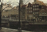 the korte prinsengracht near the haarlemmerstraat by dirk johannes van haaren
