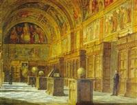 interior de la biblioteca de el escorial by ramon rosales y cuadrada