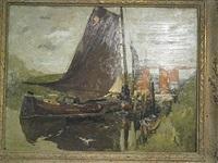 zeilboot bij een sluis by armand adrien marie apol