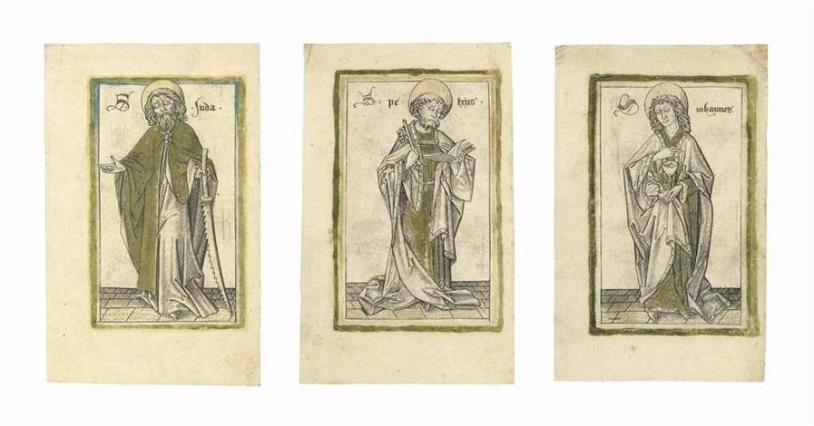 saint judas thaddaeus, saint peter, and saint john the evangelist (3 works) by israhel van meckenem the younger