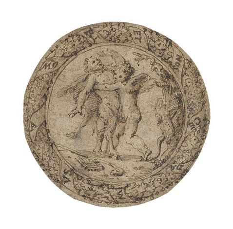 omnia vincit amor cupid subduing pan by italian school 16
