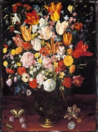 a still life of tulips, pink peonies and other flowers in a vase resting on a wooden surface with a caterpillar a butterfly and coins by kaspar (jasper) van den hoecke