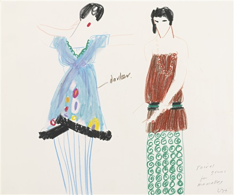 poiret gowns for mamelles iv from les mamelles de tiresias by david hockney