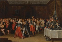 an interior scene with elegant figures at a wedding by hieronymus francken the younger