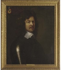 portrait of sir john boys in armour, with a white lace collar, his coat of arms displayed in the top left hand corner by william dobson