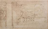 scène de décor de théâtre ou de terrasse de palais by sébastien bourdon