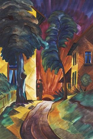 liebespaar weg zwischen bäumen und häusern by christian arnold
