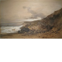 stormy day along the coast by gabriel hippolyte le bas