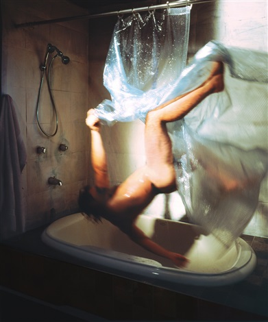 shower 2005 from the struggle to right oneself series by kerry skarbakka