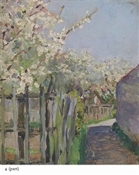 trees in blossom; garden; a pier (3 works) by maria vasilevna jakunchikova