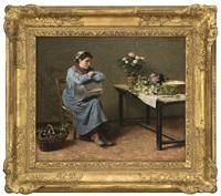 woman in interior by erik theodor werenskiold