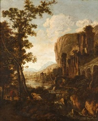 travellers in a classical landscape by h. dorre