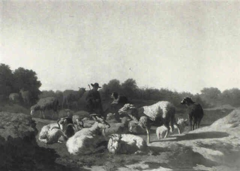 drover with goats and sheep in a landscape by warner gyselman