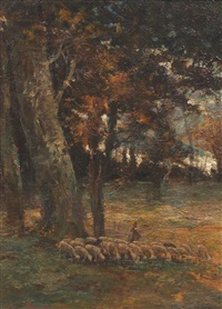 landscape with sheep in a clearing by rosa bonheur