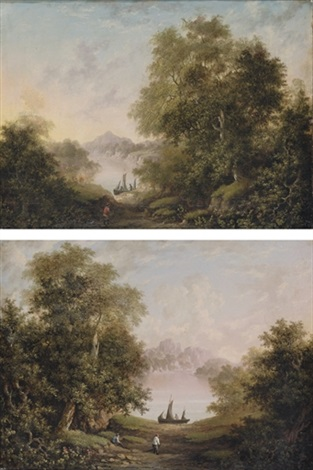fishermen on the banks of a river figure on the bank of a river pair by charlotte nasmyth
