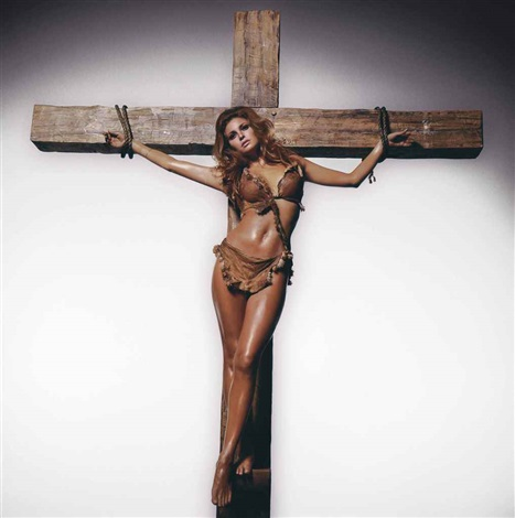 raquel welch on the cross, los angeles by terry o'neill