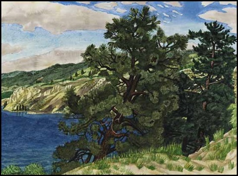 above okanagan lake penticton by edward john hughes