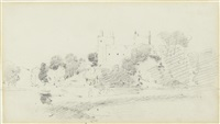 study of a castle amongst trees by john constable