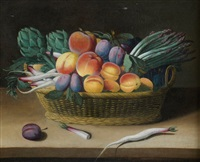 corbeille de fruits sur un entablement by jacob van hulsdonck