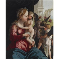 the madonna and child with two angels by jan van scorel