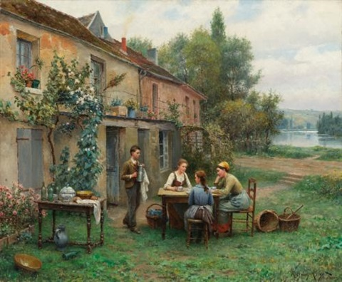 coffee in the garden by daniel ridgway knight