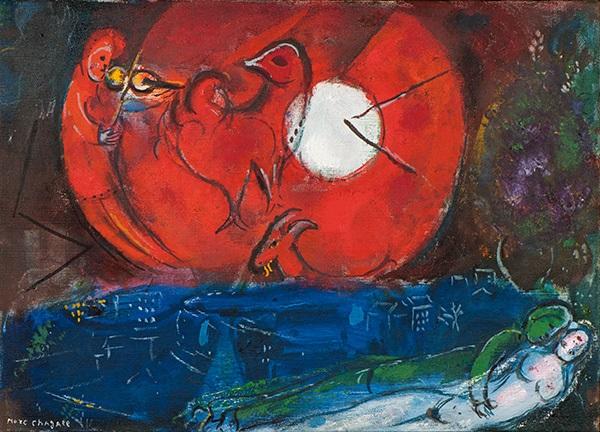 etude pour la nuit de vence from série de paris by marc chagall