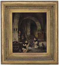 monks in a wine cellar by vincent stoltenberg-lerche